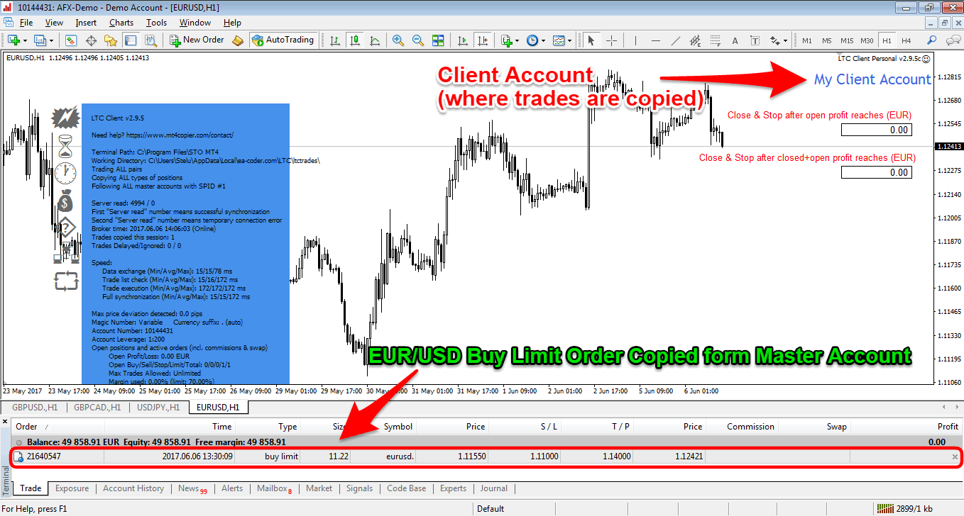 Trade Copied in Client Account